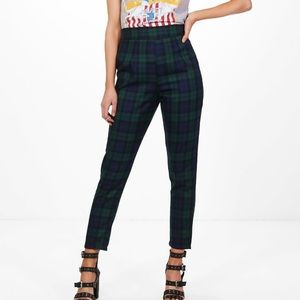 Harlyn High Waisted Check Tapered Pants